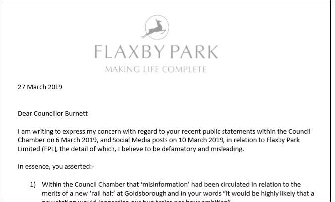 Councillor Burnett Letter March 2019
