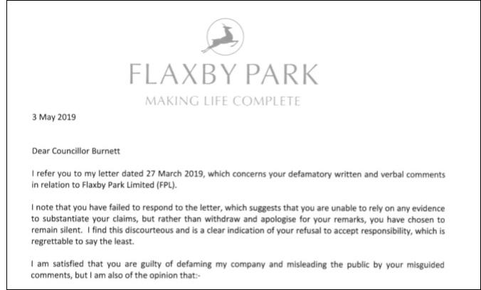 Councillor Burnett Letter May 2019